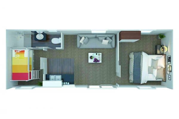Floor plan of 2 bedroom portable cabins for rent in Auckland with kitchen and bathroom