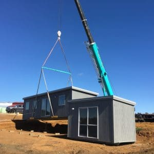 Portable Cabins for rent - being moved into position