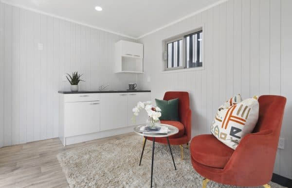 Unit living area and kitchenette